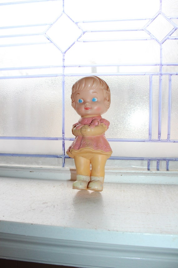 Vintage Squeaker Toy Rubber Doll Circa 1967