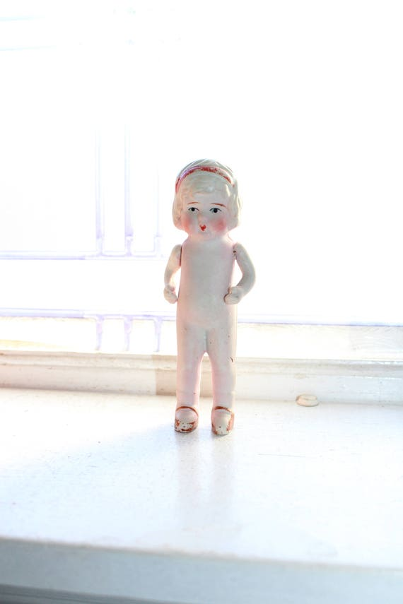Vintage Bisque Doll Large Frozen Charlotte Moveable Arms