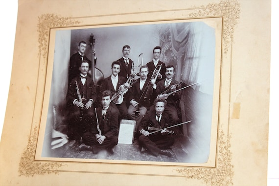 1800s Large Cabinet Card Photograph Touring Band 14 x 11.75 Inches