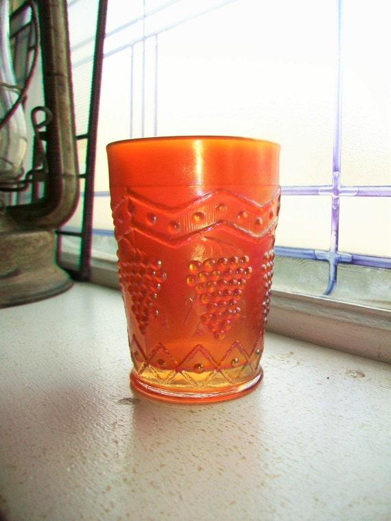 Antique Carnival Glass Tumbler Lattice and Grape Fenton Circa 1910s