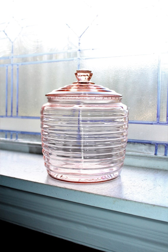 Pink Depression Glass Ribbed Cookie Jar Vintage 1930s