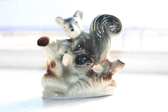 Vintage Porcelain Squirrel with Stump Figurine