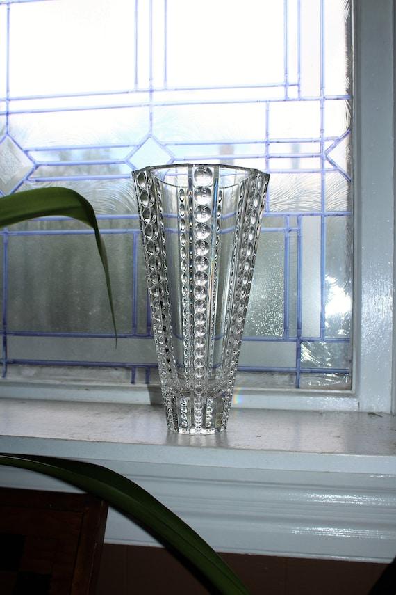 Large Vintage Crystal Vase with Vertical Bubbles