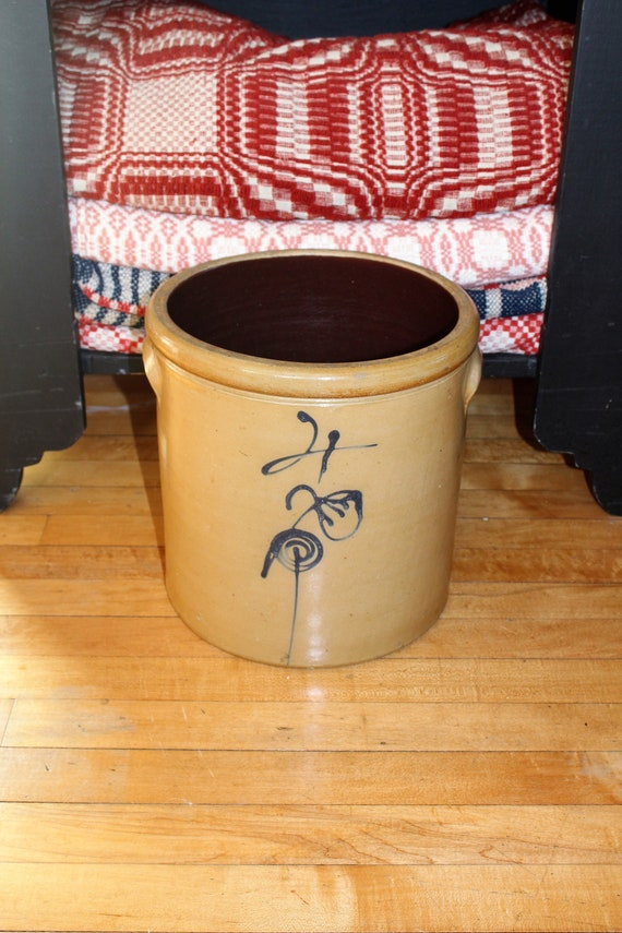 Antique Salt Glaze Crock 4 Gal. Stoneware Cobalt Blue Flower Bee Sting