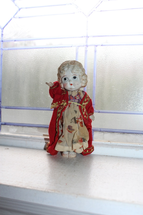 Vintage Bisque Doll with Cloth Dress 1920s 7.5""