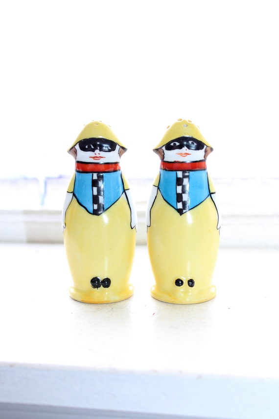 Art Deco Noritake Harlequin Clown Salt & Pepper Shakers Vintage 1920s