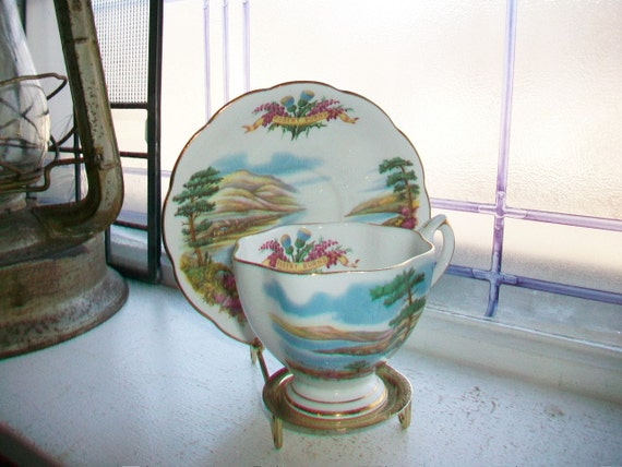 Vintage Queen Anne Tea Cup and Saucer Robert Burns Famous Poet Series Bone China Made in England