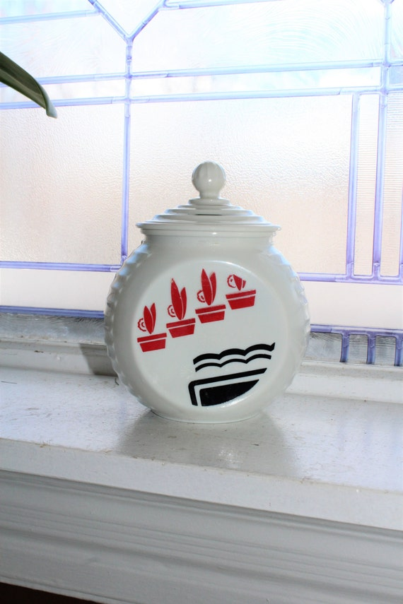 Vitrock Grease Jar Vintage Art Deco 1940s Milk Glass Black and Red Flower Pots