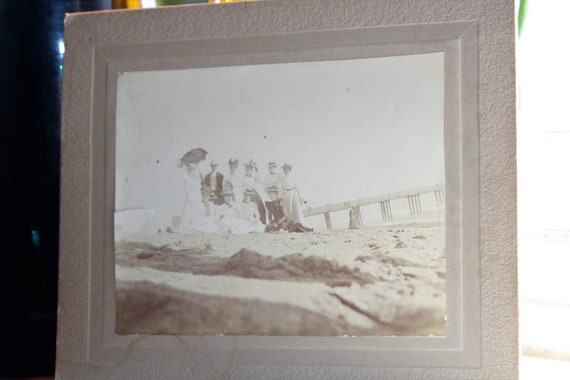 Antique Cabinet Card Photo Victorian Beach Outing