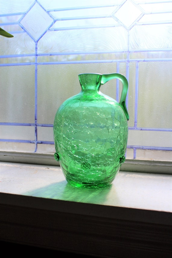 Vintage Green Crackle Glass Pitcher Decanter Mid Century Barware