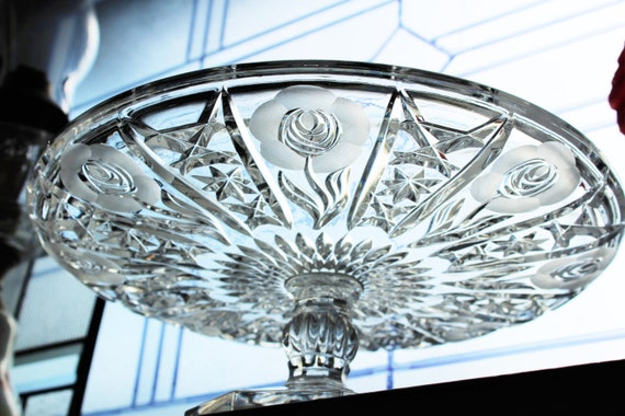 Vintage Crystal Cake Stand Pedestal Stand Frosted Rose and Star