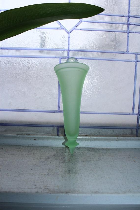 Vintage Green Tiffin Satin Glass Wall Pocket