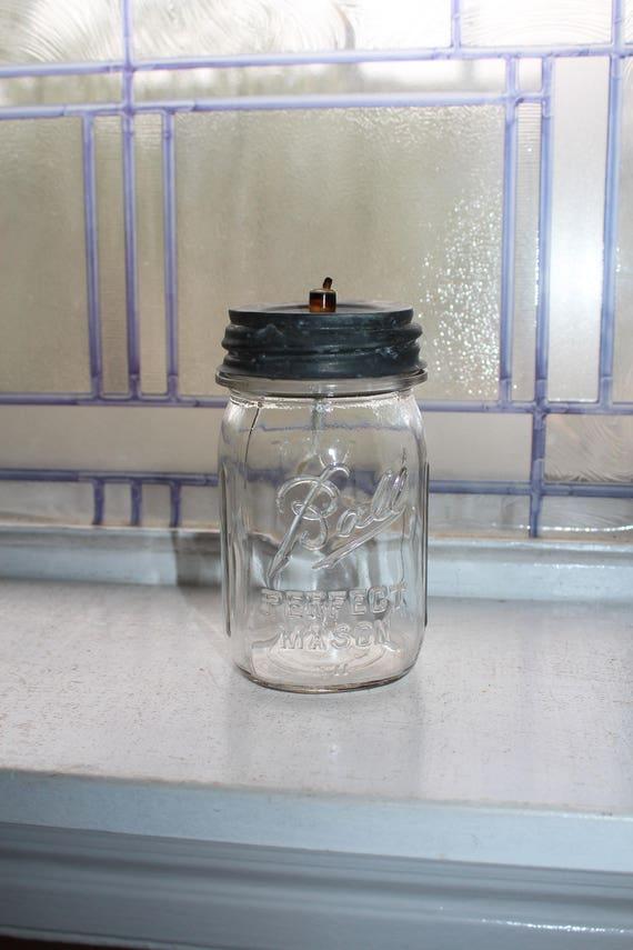 Ball Mason Pint Jar Oil Lamp Vintage 1930s