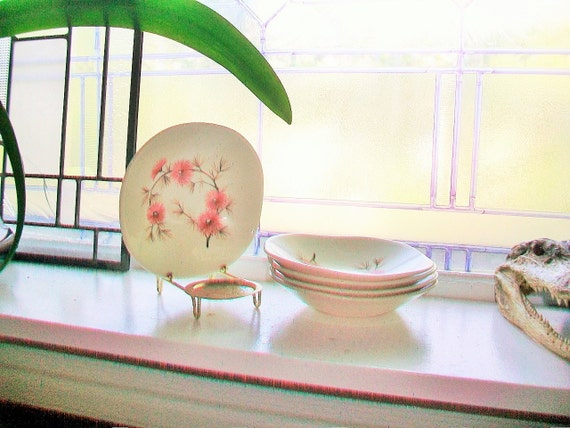 Coral Pine Dessert Bowls Edwin Knowles Criterion Shape Set of 5