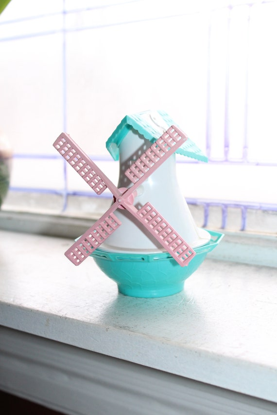 Vintage Windmill Salt and Pepper Shakers 1970s Blue Pink White Plastic