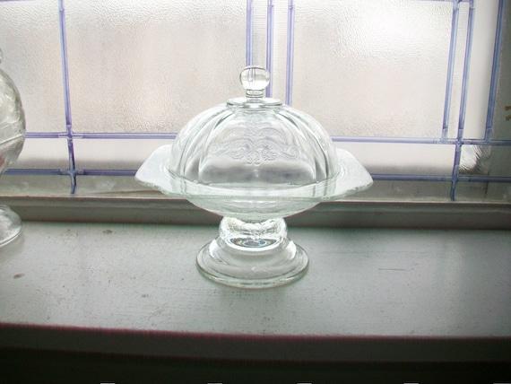 Pedestal Butter Dish Vintage Madrid Depression Glass Candy Dish