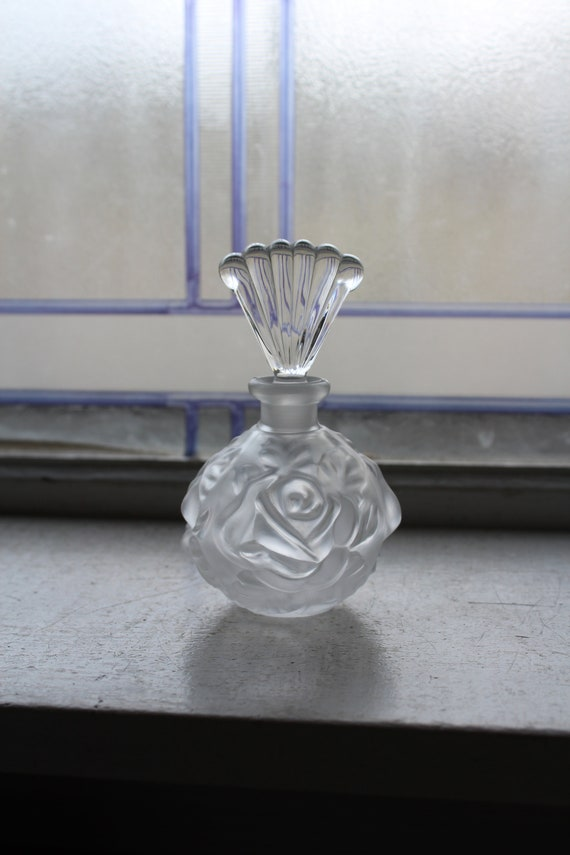 Vintage Satin Glass Perfume Bottle Relief Molded Roses
