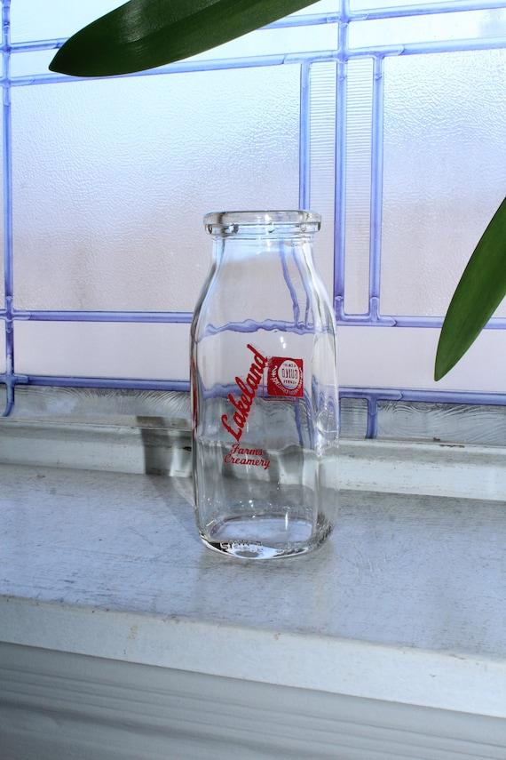 Vintage Milk Bottle Half Pint Red Pyro Lakeland Farms Creamery