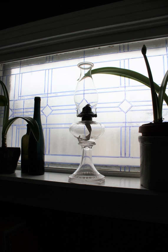 Antique Victorian Glass Oil Lamp with Chimney Good Housekeeper Burner