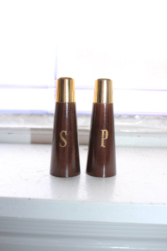 Vintage Salt and Pepper Shakers Mid Century Wood and Brass