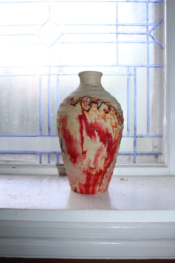 Vintage Nemadji Pottery Vase Red & Black Swirls Southwestern Decor