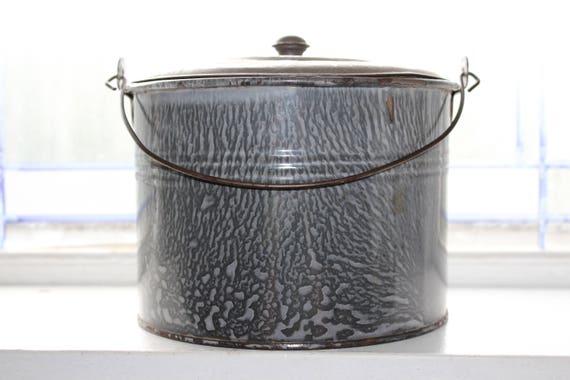 Antique Graniteware Berry Bucket Gray Enamelware