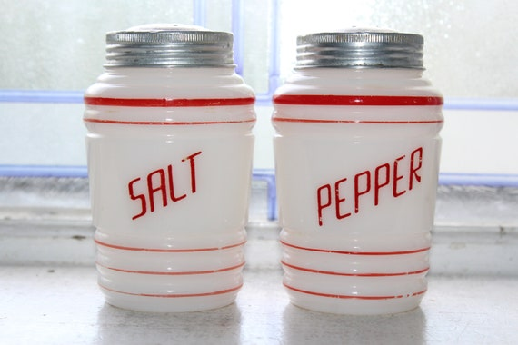 Vintage Art Deco Salt and Pepper Shakers Milk Glass with Red Stripes