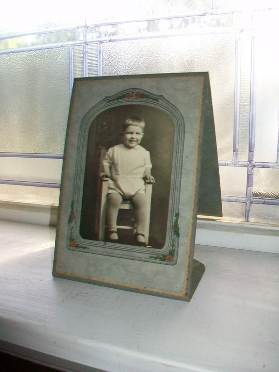 Vintage Photograph of a Happy Toddler in a Cool Art Nouveau Frame 7 x 5