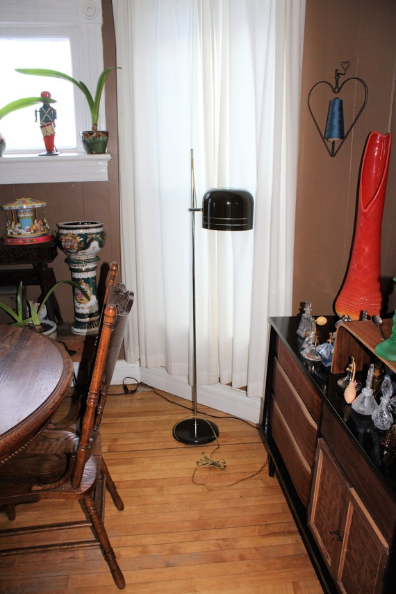 Vintage 1960s Joe Colombo Coupe Floor Lamp with Cut Vented Metal Shade