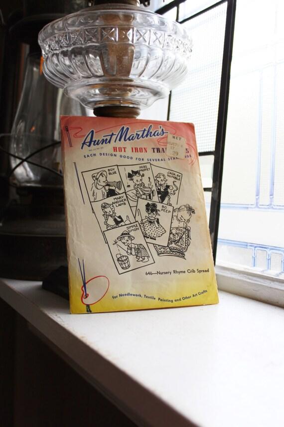 Nursery Rhyme Crib Spread Aunt Martha's Hot Iron On Transfers Vintage Craft Supply Pattern 646