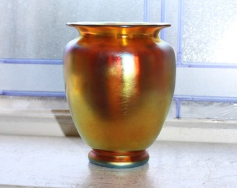 Antique Steuben Gold Aurene Glass Vase Lobed Body Scalloped Rim