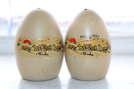 Vintage Salt and Pepper Shakers 1950s Wood Eggs Skagway Alaska