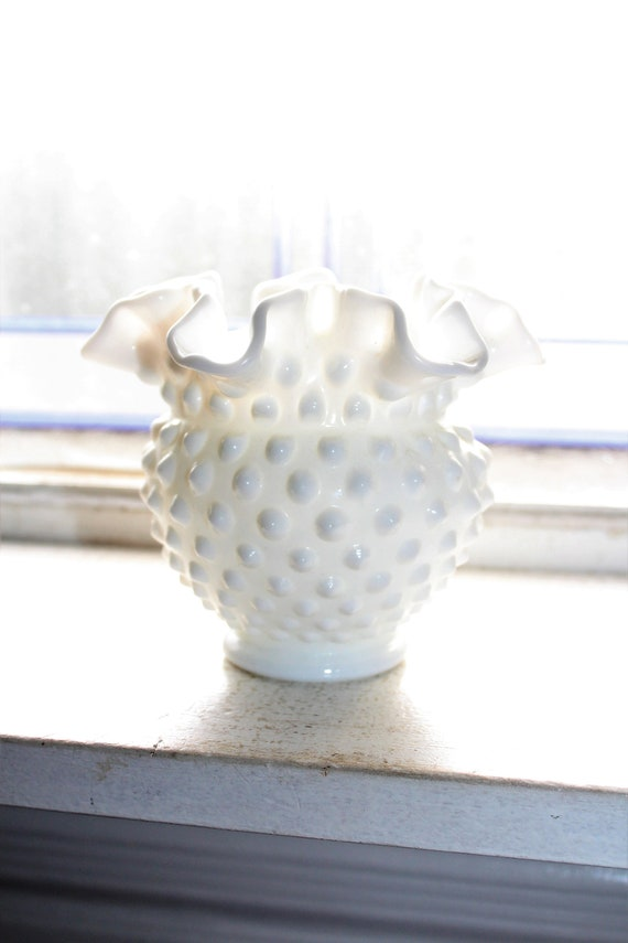 Milk Glass Hobnail Vase Ruffled Rim Vintage 1960s