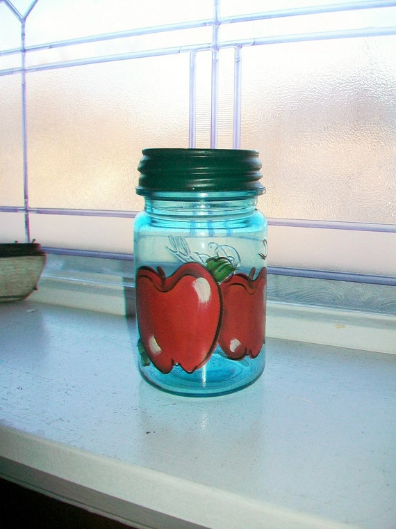 Vintage Blue Ball Perfect Mason Jar Pint with Hand Painted Apples 1910 to 1923