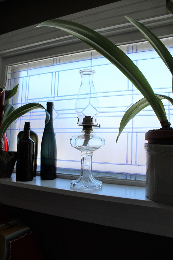 Vintage Glass Oil Lamp with Chimney