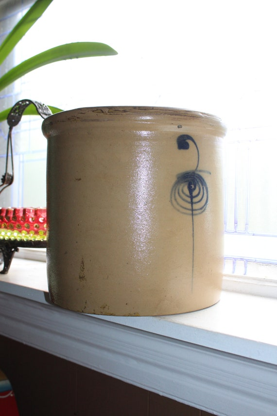 Antique Salt Glaze Crock 2 Gal Cobalt Bee Sting Minnesota Stoneware Co