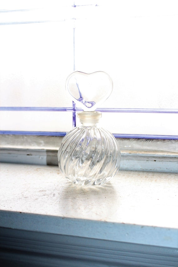 Vintage Glass Perfume Bottle with Heart Stopper