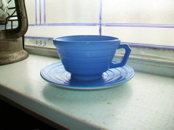 Vintage Blue Moderntone Cup and Saucer Platonite 1940s Depression Glass 10 Available