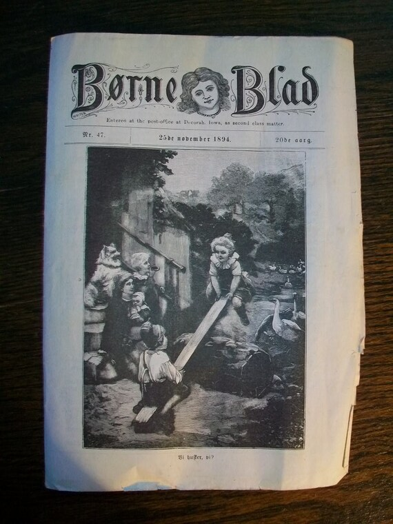 1894 Newspapers Norwegian or Danish Borne Blad w/ Wonderful Pictures Lot of 8