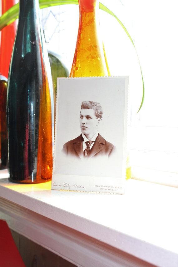 Handsome Edwardian Man Cabinet Card Photograph Antique 1800s Photo
