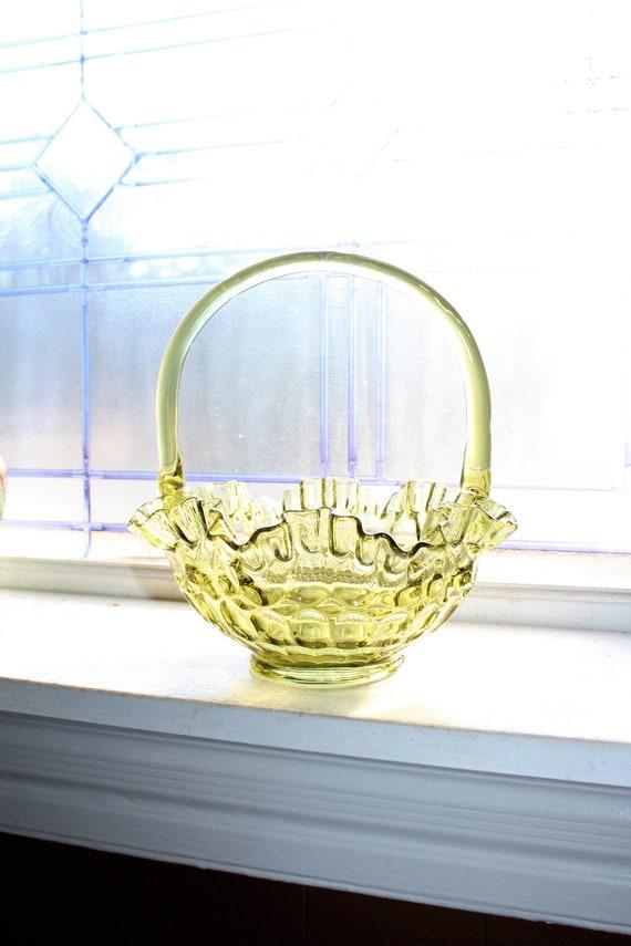 Fenton Glass Basket Green Olivine Thumbprint Double Crimped Rim 1960s