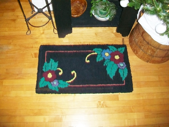 Vintage Hooked Wool Rug Black with Flowers Country Decor