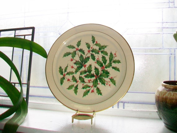 Vintage Lenox Holiday Platter Mistletoe 12.75 Inches Round