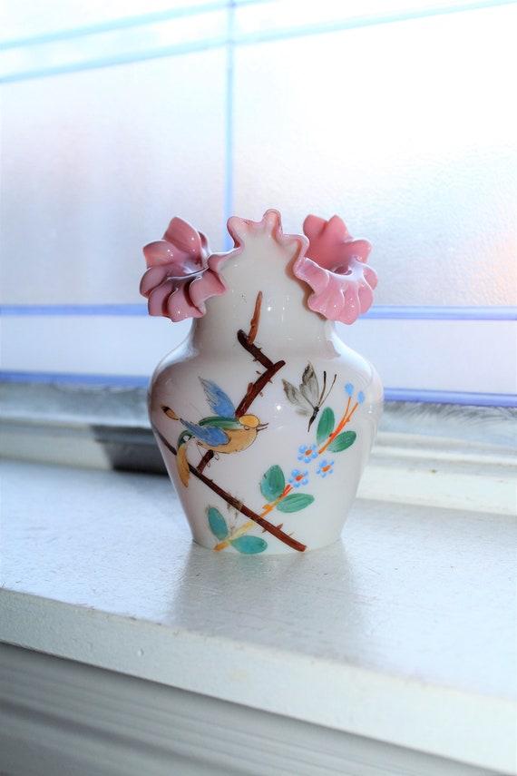 Antique Bristol Glass Vase Painted Bird & Butterflies