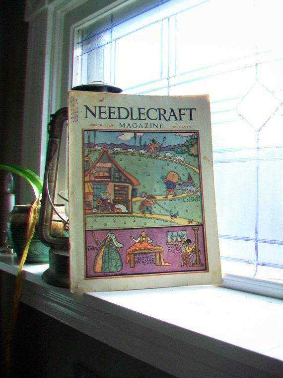 1929 Needlecraft Magazine March Issue Vintage 1920s Sewing