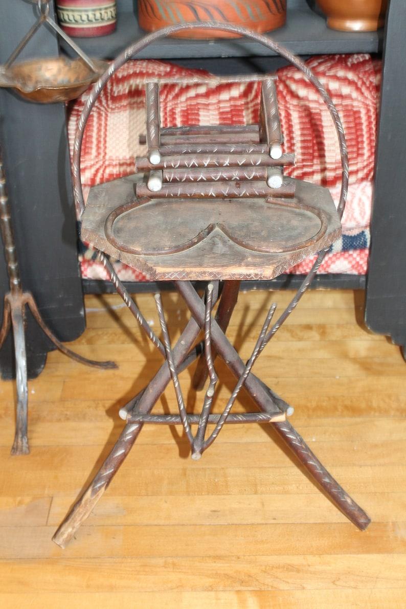 Vintage Rustic Twig Stand Log Cabin Table Adirondack Style Folk Art
