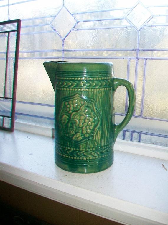 Antique Green Stoneware Pitcher Grape Motif