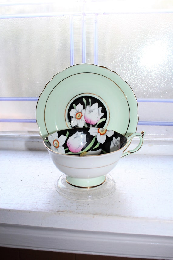 Paragon Tea Cup And Saucer Green Black Vintage Bone China