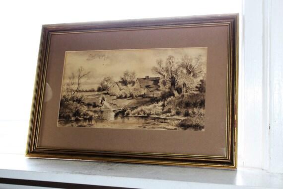 Antique 1898 Watercolor Painting Country Farm Artist H H Fenton