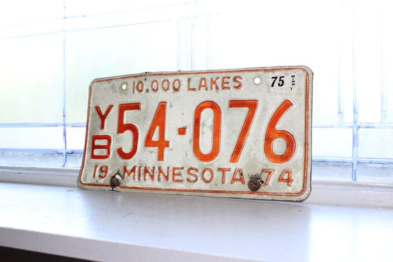 Vintage 1974 Minnesota License Plate Man Cave Decor